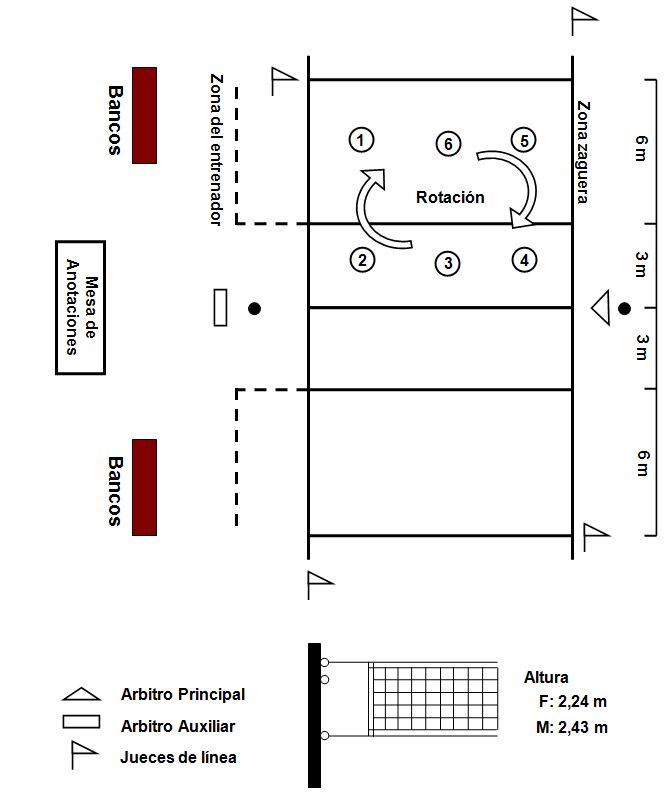 Cancha de voleibol con sus medidas y posiciones