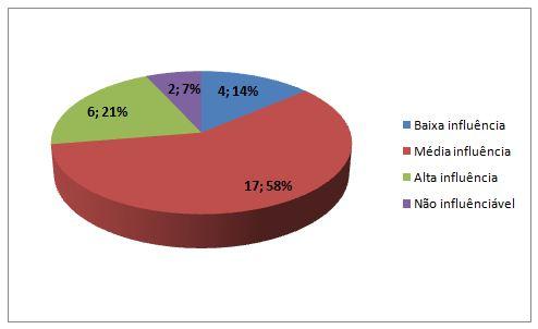 Gráfico 1. Percepção dos professores quanto a influência das mídias nas aulas de Educação Física